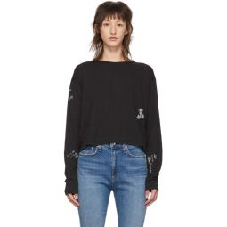 Black Cropped Tattoo Embroidered Long Sleeve T-Shirt
