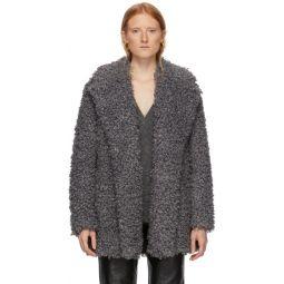 Grey Faux Curly Lamb Coat