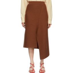 Brown Merino Rib Origami Slit Skirt