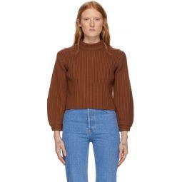 Brown Merino Rib Slit Neck Pullover Sweater