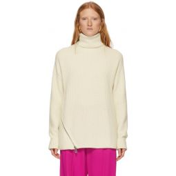 Off-White Cashmere Ribbed Turtleneck