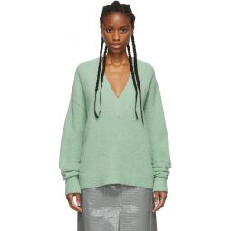 Green Alpaca Airy V-Neck Sweater