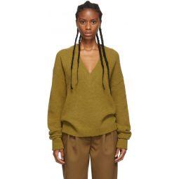 Tan Alpaca Airy V-Neck Sweater