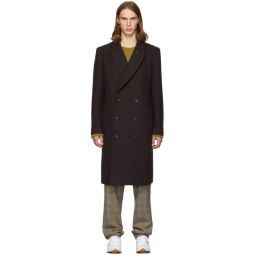 SSENSE Exclusive Purple Wool Double-Breasted Coat