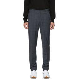 SSENSE Exclusive Grey Wool Windowpane Check Trousers