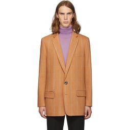 SSENSE Exclusive Orange Check Wool Long Blazer