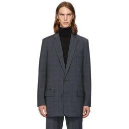 SSENSE Exclusive Grey Wool Windowpane Check Long Blazer