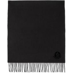 Black Wool Logo Scarf