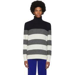 White & Grey Stripe Turtleneck