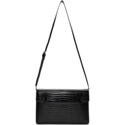 Black Croc Accordion Messenger Bag