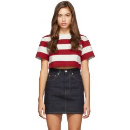 Red & Grey Striped Cropped Chynatown T-Shirt