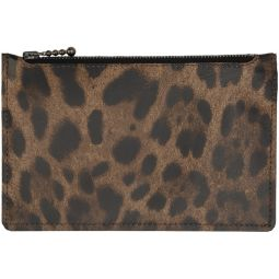 SSENSE Exclusive Brown & Black Leopard Long Zip Wallet
