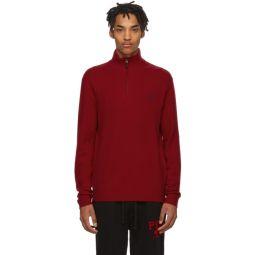 Red Wool Half-Zip Sweater