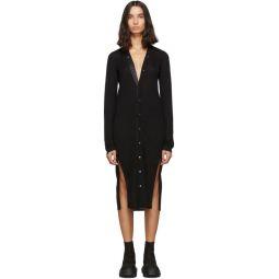 Black Wool Long Snap Cardigan