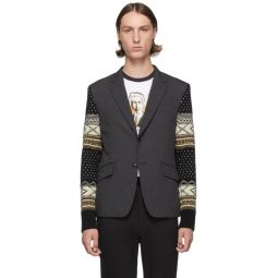 Grey Jacquard Sleeves Blazer