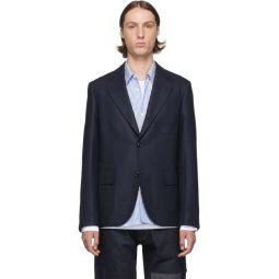 Navy Silk & Wool Blazer