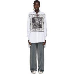 White Silk Printed Shirt