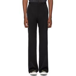 Black Wool Wide Trousers