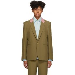 Brown Contrast Collar Single-Button Blazer