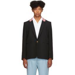 Black Contrast Collar Single-Button Blazer