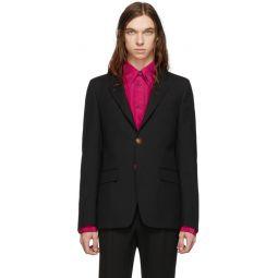 Black Wool Single Breasted Blazer