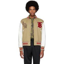 Beige & White Wool & Leather Padfield Bomber Jacket