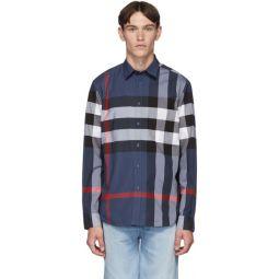 Blue Slim Check Shirt