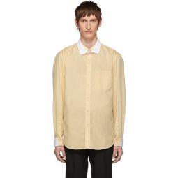 Beige Contrast Double Collar Shirt