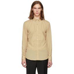 Beige Press Snap Formal Shirt