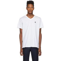 White Monogram Marlet V-Neck T-Shirt