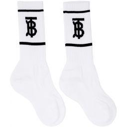 White Monogram Socks