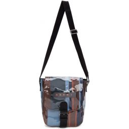 Blue Striped Glossy Grip Messenger Bag