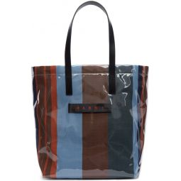 Blue Striped Glossy Grip Tote
