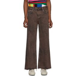 Brown Over-Dyed Bleached Jeans