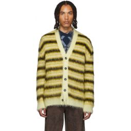 Yellow & Black Striped Mohair Cardigan