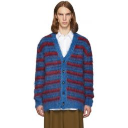 Blue & Red Mohair Cardigan