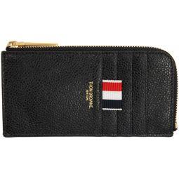 Black Half Zip Around Wallet