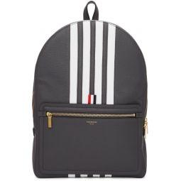 Grey Structured 4-Bar Stripe Backpack