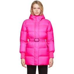 Pink Down Long Quilted Puffer Jacket