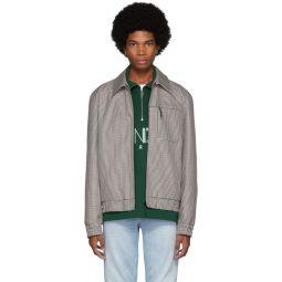 Beige Check Tailored Blouson Jacket