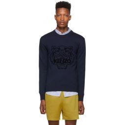 Navy Wool Tiger Head Jumper Sweater