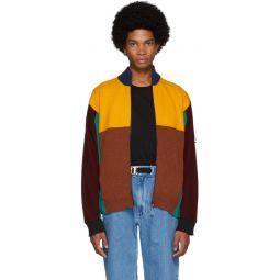 Multicolor Wool Colorblock Zip Jacket