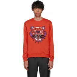Red Limited Edition Embroidered Tiger Sweatshirt