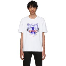White Limited Edition Embroidered Tiger T-Shirt