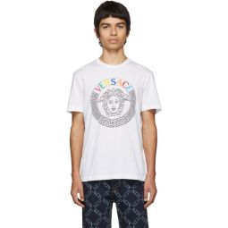 White Embroidered Medusa T-Sihirt