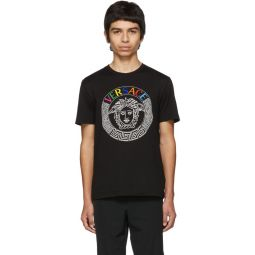 Black Rainbow Embroidered T-Shirt