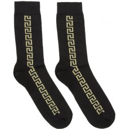 Black & Gold Greek Key Socks