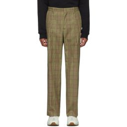 Beige Check Trousers