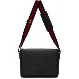 Black GG Supreme Flap Messenger Bag