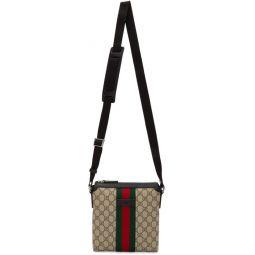 Beige GG Supreme Flat Messenger Bag